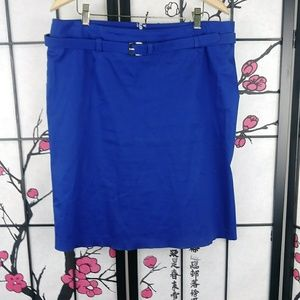 🌼 New York & Co Stretch Pencil Skirt Belted Blue